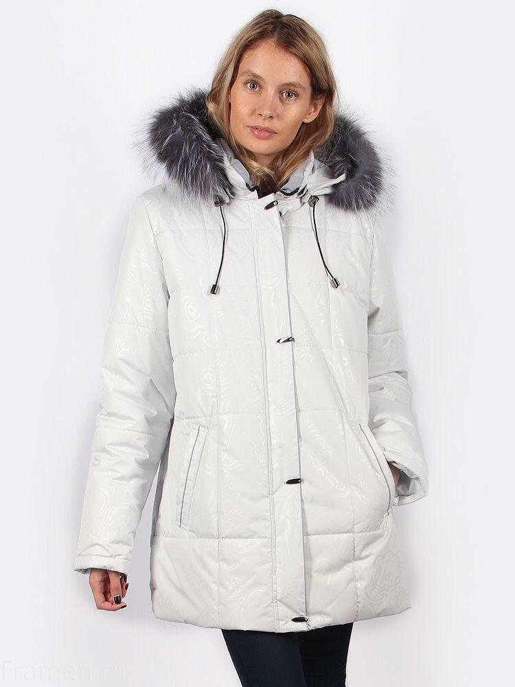84d29830dec Куртка женская зимняя белая Maritta с капюшоном и мехом